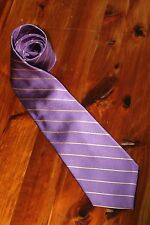 Paul Fredrick Mens NeckTie Purple Gold Striped 100% Silk L 59 W 3.75