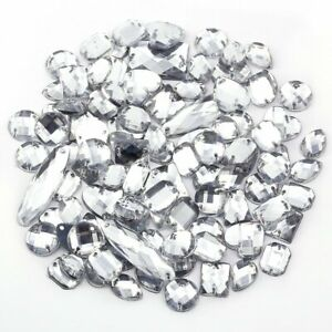 Clear Rhinestone Gem Mix assorted Jewel Crystal Shape Faceted Flat back Size Sew