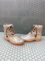 Sperry Top-Sider Saltwater Ivory Quilt/Rubber Lace Up Rain Boots Women's Size 5M