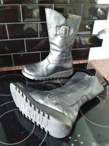 Fly London Womens Black Leather Boots Size Uk 4 Eu 37