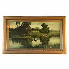 Antique Oil On Canvas Painting Wall Art Riverside Landscape Horse Framed Glass