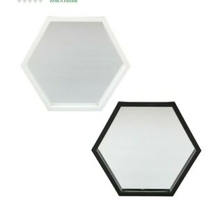 Hexagon Wall Mirror with Black or White Frame - 8 x 8 inch to hang on Wall