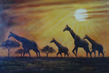 Giraffe Herd Sunset Africa Serengeti Plain Lge Oil On Canvas Painting  Stretched