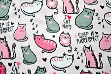 """I LOVE CAT NAPS PINK/WHITE/GREY CATS ON PINK FLANNEL MATERIAL 2 YDS 42 X 72"""""""
