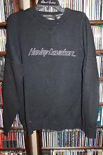 Harley Davidson Motorcycles Black Crewneck Sweater embroidered Mens M  (bin114)