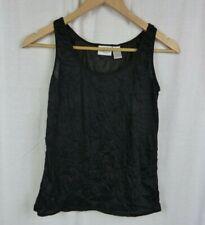 Chico's Black Crinkle Tank Top Sleeveless Shirt Layering Women's Size 0 Small