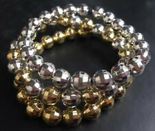Funky Gold & Silver Disco Ball Elasticated Beaded Bracelet Trio + Gift Bag