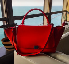 CELINE bright red drummed leather suede Trapeze bag purse silver-tone hardware