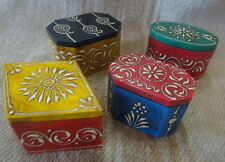 Moroccan Style Box Multi-coloured Embossed paint on wood set of 4 pieces 5x7x5cm