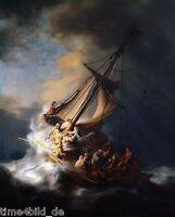 TIME4BILD REMBRANDT Sturm auf dem See Genezareth Jesus LEINWAND auf Keilrahmen