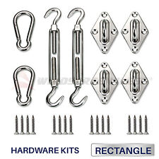 8 inch Rectangle Sun Shade Sail Stainless Steel Hardware Installation Kit