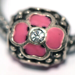 1Pc Silver Flower Bead Charm Fit Eupropean Chain Bracelet Making Jewelry DIY