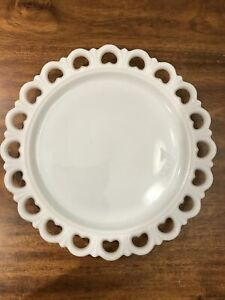 Vintage Large Round Lace Heart Edge Milk Glass Cake Plate Serving Platter-13 in.