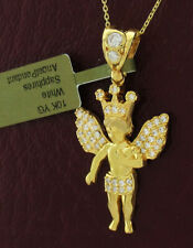 ANGEL WHITE SAPPHIRE LG PENDANT 10K GOLD ** New With Tag **