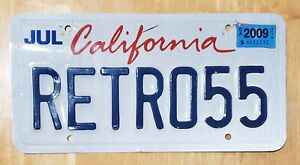 RETRO 55 California Vanity Car License Plate 2009 Tag RETRO55 Ratrod Steampunk