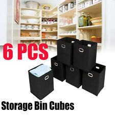 6 X Storage Bin Cubes Sundries Case Box Home Organizer Basket Container Black