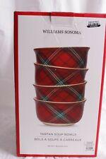 4 NIB Williams Sonoma Red tartan soup bowls Christmas