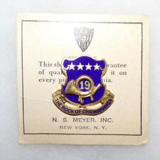 Original WW2 era US Army 19th Infantry Regiment DUI Unit Crest (NS Meyer)
