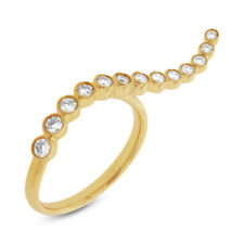 0.44 CT 14K Yellow Gold Natural Graduated Round Diamond 2 Two Finger Design Ring