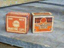 Vintage Blasting Caps Tins 100's No.6 ATLAS Advertising Mining LOT of 2