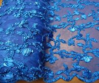 """Ribbon Embroidery ROYAL BLUE Scalloped Edge Lace Fabric Wedding Prom 50"""" wide"""