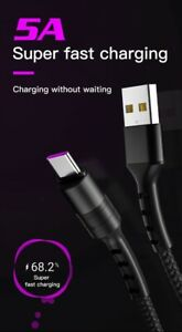 5A Fast Charger Cable for Samsung, Iphone, MicroUSB, USB C 3,6,10 feet Type C QI