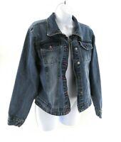 Xhilaration Womens Long Sleeve Button Up Denim Blue Jean Jacket M Wash Size L