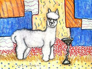 ACEO ALPACA Martini Art Print 2.5 x 3.5 by Artist KSams Animal Llama