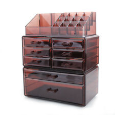 Acrylic Jewelry & Cosmetic Makeup Storage Brush Pen Display Box w/8 Drawer Brown