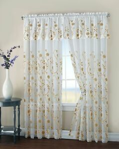 "Window Panel full set Floral Embroidery Matte Sheer w attached Valance 108"" 84"""