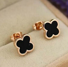 18KGP Rose Gold  Black Clover Studs Earring (Logistics all-the-way tracking)