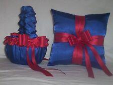 HORIZON BLUE SATIN / RED RIBBON TRIM FLOWER GIRL BASKET & RING BEARER PILLOW #1