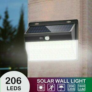 208 LED Solar Powered PIR Motion Sensor Light Bright Outdoor Garden Wall Lights