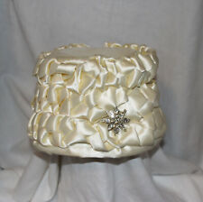 Vintage Fisk of Chicago Peach Bucket Style Hat Satin Rhinestone Pin Ivory
