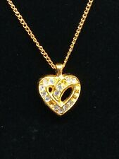 Christian Dior Authentic Gold Rhinestone Heart Necklace Vintage 1960's-70's