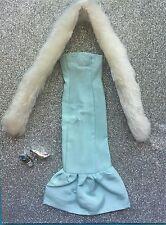 OOAK Vintage Style Barbie Aqua Colored Mermaid Dress*White Stole*Shoes