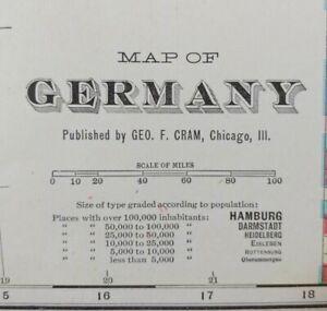 """Vintage 1902 GERMANY Map 22""""x14"""" Old Antique Original BREMEN HAMBURG OLDENBURG"""