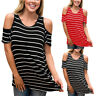 Summer Womens Cold Shoulder Loose Tops Casual Stripe T-Shirt Short Sleeve Blouse