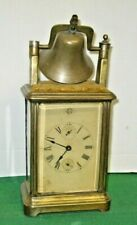 ANTIQUE GILBERT ROLLING BELL TOP ALARM CARRIAGE CLOCK WORKING 76 KEY-WIND