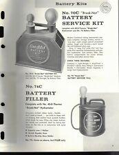 "Vintage 1967 EDELMANN No. 70C & 74C ""BATTERY SERVICE KIT & FILLER Jobbers SHEET"