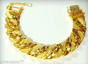 Men's Bracelet Heavy 23K 24K THAI BAHT YELLOW GOLD Plated  Bangle 7 inch