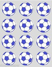 12 Blue Football Cupcake Decoration Edible Cake Toppers Pre Cut 40mm Rice Paper