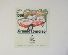 VECCHIO ADESIVO AUTO anni '80 / Old Sticker FIAT PANDA ROSA Milano (cm 10 x 11)