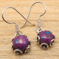 PURPLE COPPER TURQUOISE Earrings ! Silver Plated VINTAGE STYLE Jewelry