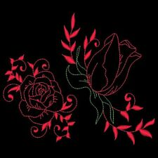 BEAUTIFUL REDWORK ROSES - 30 MACHINE EMBROIDERY DESIGNS (AZEB)