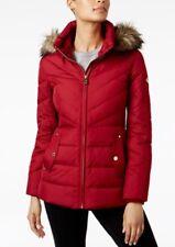 Michael Kors Jacket Coat Puffer Down Hood Faux Fur Dark Red Cinnabar L $280