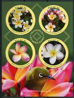 Palau 2018 MNH Frangipani White-Eye 4v M/S Birds Flowers Nature Stamps
