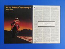 Vintage 1984 Kenny Roberts Motocross Rider - Original 3 Page Article