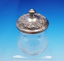 """Repousse by Kirk Sterling Silver and Glass Mustard Jar #20F 4 3/8"""" Tall (#3470)"""