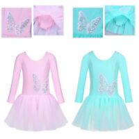 Girls Gymnastics Tulle Leotard Dress Ballet Dance Sequined Tutu Skirt Dancewear